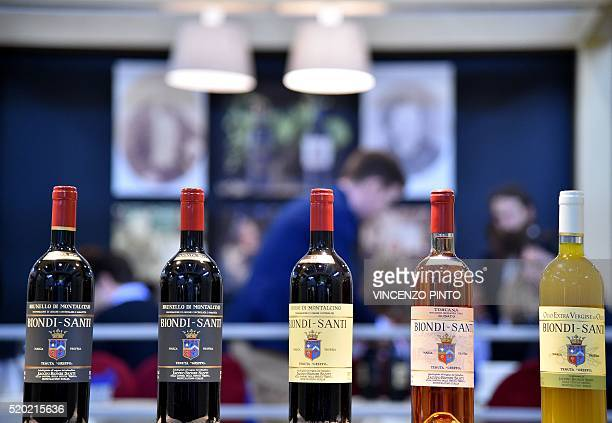 A photo taken on April 10 2016 shows bottles of Brunello di Montalcino displayed during the 50th edition of the Vinitaly wine exhibition in Verona...