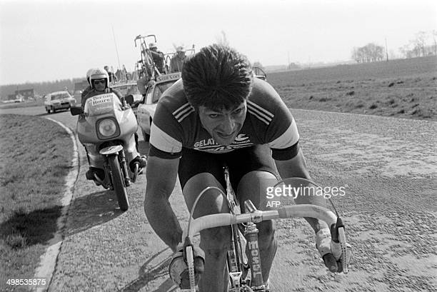Photo taken on April 13 1980 of Belgian cyclist Roger De Vlaeminck at the 78th edition of the ParisRoubaix race Roger De Vlaeminck the holder of the...