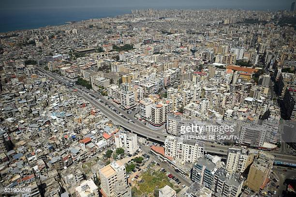 A photo taken on April 17 2016 shows an aerial view of the Lebanese capital Beirut / AFP / STEPHANE DE SAKUTIN