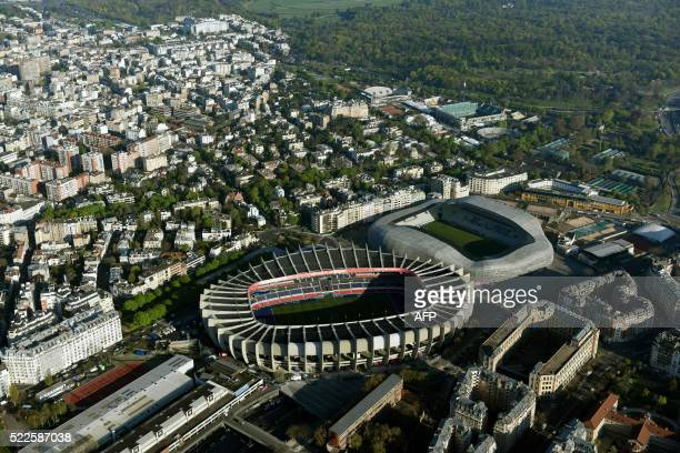 A photo taken on April 20 2016 shows an aerial view of the Parc des Princes stadium and the Stade Jean Bouin stadium in Paris / AFP PHOTO / Robert...