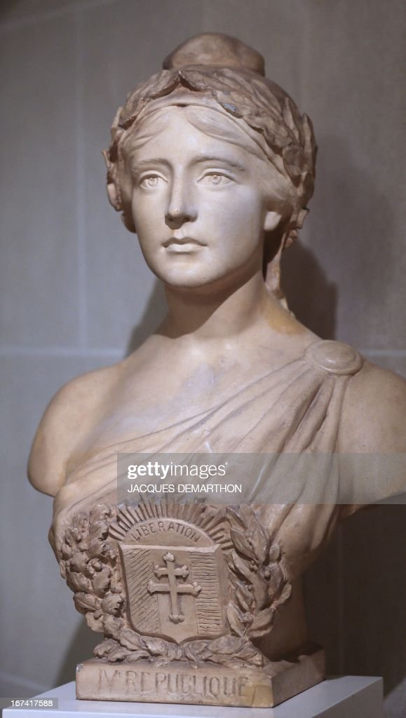 A photo taken on April 25, 2013 at the French Senate, upper house of France's Parliament, in the Luxembourg Palace in Paris, shows a Marianne sculpture, a national emblem of the French Republic, created by Leduc.
