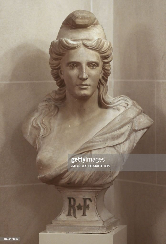 A photo taken on April 25, 2013 at the French Senate, upper house of France's Parliament, in the Luxembourg Palace in Paris, shows a Marianne sculpture, a national emblem of the French Republic, created by a anonymous artist. AFP PHOTO/JACQUES DEMARTHON