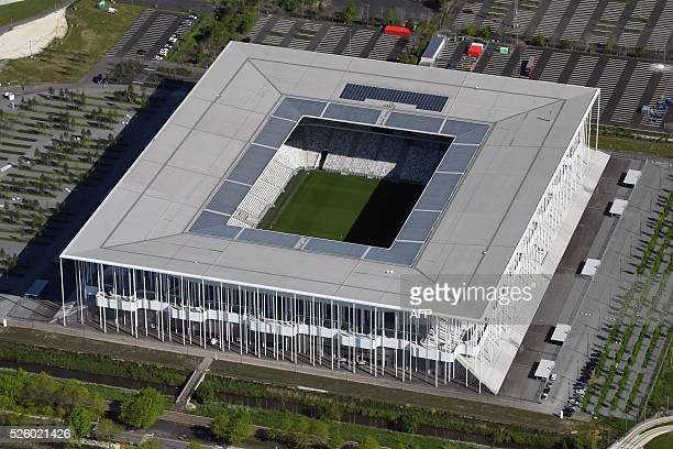 A photo taken on April 27 2016 shows an aerial view of the Nouveau Stade de Bordeaux in the city of Bordeaux southwestern France / AFP / EUROLUFTBILD...