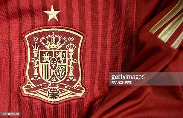 A photo taken on April 3 2014 in Paris shows a partial view of the new jersey of Spain's national football team AFP PHOTO / FRANCK FIFE