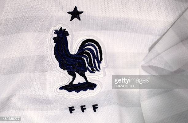 A photo taken on April 3 2014 in Paris shows a partial view of the new jersey of France's national football team AFP PHOTO / FRANCK FIFE