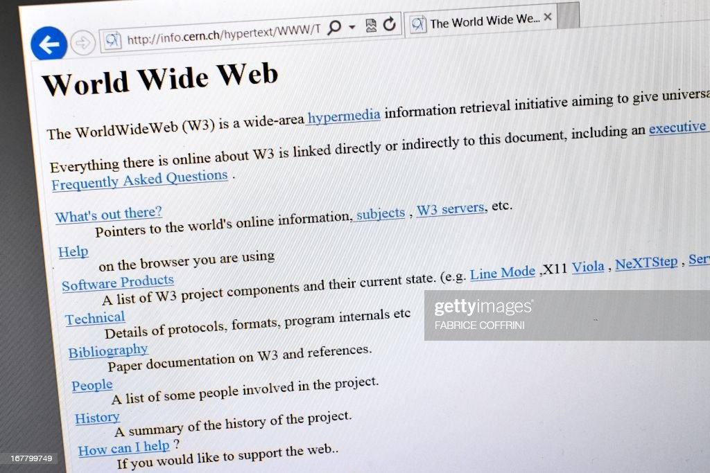 Photo taken on April 30, 2013 in Geneva shows a 1992 copy of the world's first web page. The world's first web page will be dragged out of cyberspace and restored for today's Internet browsers as part of a project to celebrate 20 years of the Web. The European Organisation for Nuclear Research (CERN) said it had begun recreating the website that launched that World Wide Web, as well as the hardware that made the groundbreaking technology possible. British physicist Tim Berners-Lee invented the World Wide Web, also called W3 or just the Web, at CERN in 1989 to help physicists to share information, but at the time it was just one of several such information retrieval systems using the Internet.