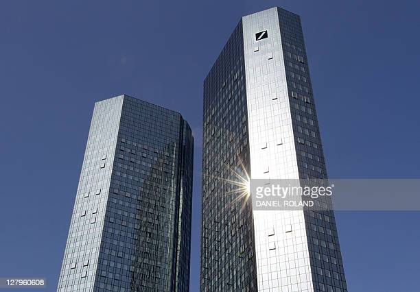 A photo taken on April 7 2011 in Frankfurt/Main shows the two towers of the headquarters of German bank Deutsche Bank Deutsche Bank Germany's largest...