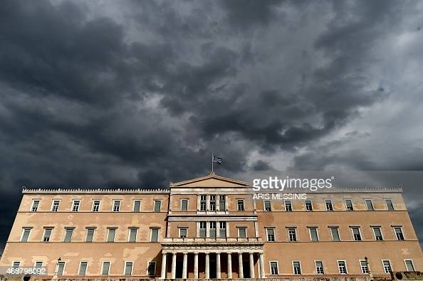A photo taken on April 7 2015 shows the Greek Parliament in Athens Greek lawmakers voted on April 7 to set up a committee to examine the...