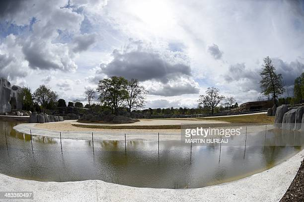 A photo taken on April 8 2014 shows an enclosure at the Paris Zoological Park formerly known as the Bois de Vincennes Zoological Park in Paris The...