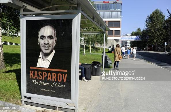 A photo taken on August 11 2014 in Tromso shows a campaign poster of former chess champion Garry Kasparov candidate for today's presidential...