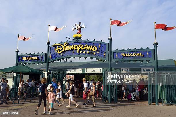 A photo taken on August 13 2015 shows the entrance at Disneyland Paris in MarnelaVallee AFP PHOTO / BERTRAND GUAY