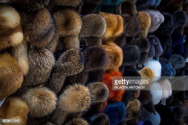 A photo taken on August 17 2017 shows fur hats displayed at the international fashion fair Chapeau Mosfur 2017 in Moscow / AFP PHOTO / Mladen ANTONOV