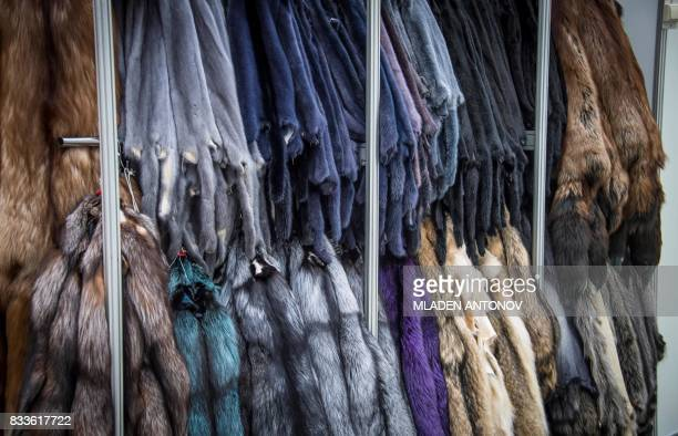 A photo taken on August 17 2017 shows various furs on display at the international fashion fair Chapeau Mosfur 2017 in Moscow / AFP PHOTO / Mladen...