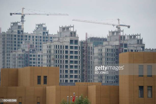 A photo taken on August 18 2012 shows ongoing construction in the inner Mongolian city of Ordos Miss China won the coveted title of Miss World on...