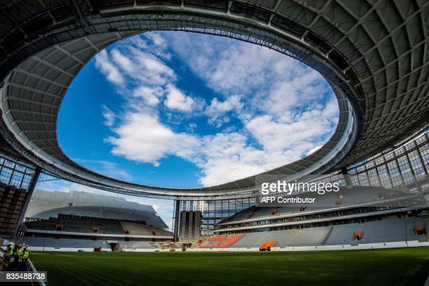 A photo taken on August 19 2017 shows the Yekaterinburg Arena under renovation work in Yekaterinburg The Yekaterinburg Arena will host several...