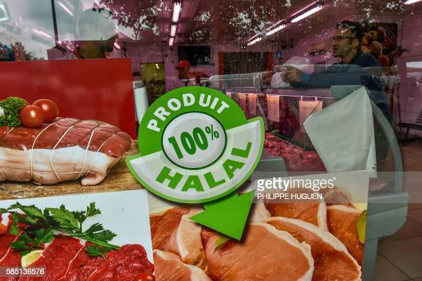 A photo taken on August 2 2016 shows the entrance of a halal butchery in Lille northern France The question of the financing of the Muslim Faith now...