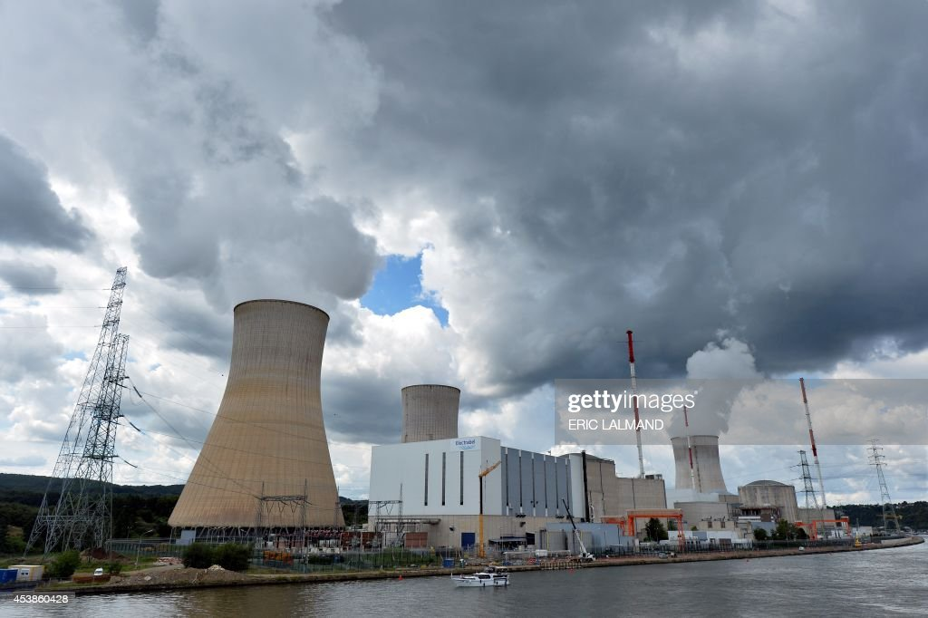 A photo taken on August 20 2014 shows a nuclear power plant in Tihange Belgium Reactor number 3 of the Doel nuclear plant near Antwerp and reactor...