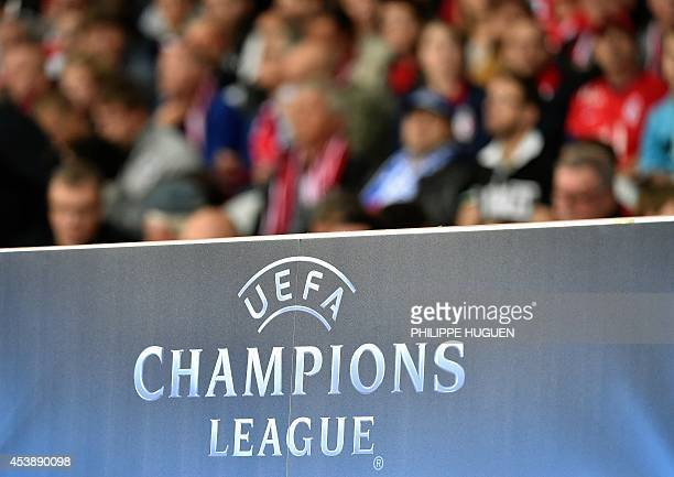 A photo taken on August 20 2014 shows the UEFA Champions League logo during the UEFA Champions League playoff first leg football match between Lille...