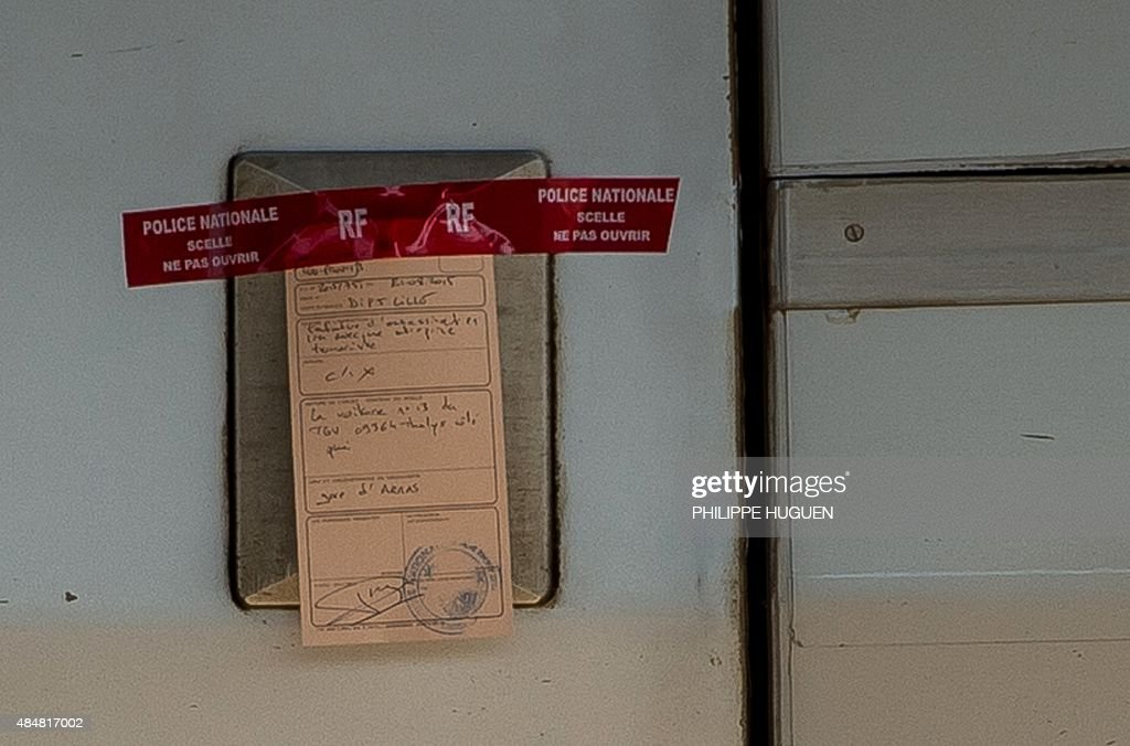 A photo taken on August 22 2015 shows a police seal on the door of a Thalys train of French national railway operator SNCF at the main train station...