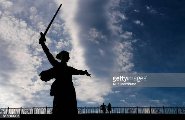 TOPSHOT A photo taken on August 22 2017 shows the Mamayev Kurgan WWII memorial complex with The Motherland Calls statue in Volgograd Volgograd will...