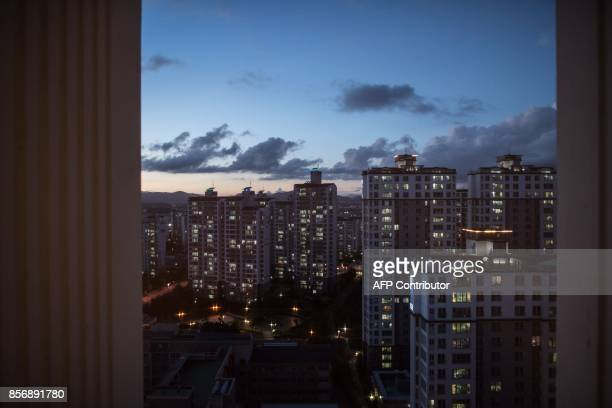 A photo taken on August 23 2017 shows the view from the apartment building of Huynh Thi Thai Muoi and Kim KyeongBok in Gwangju There are some 40000...