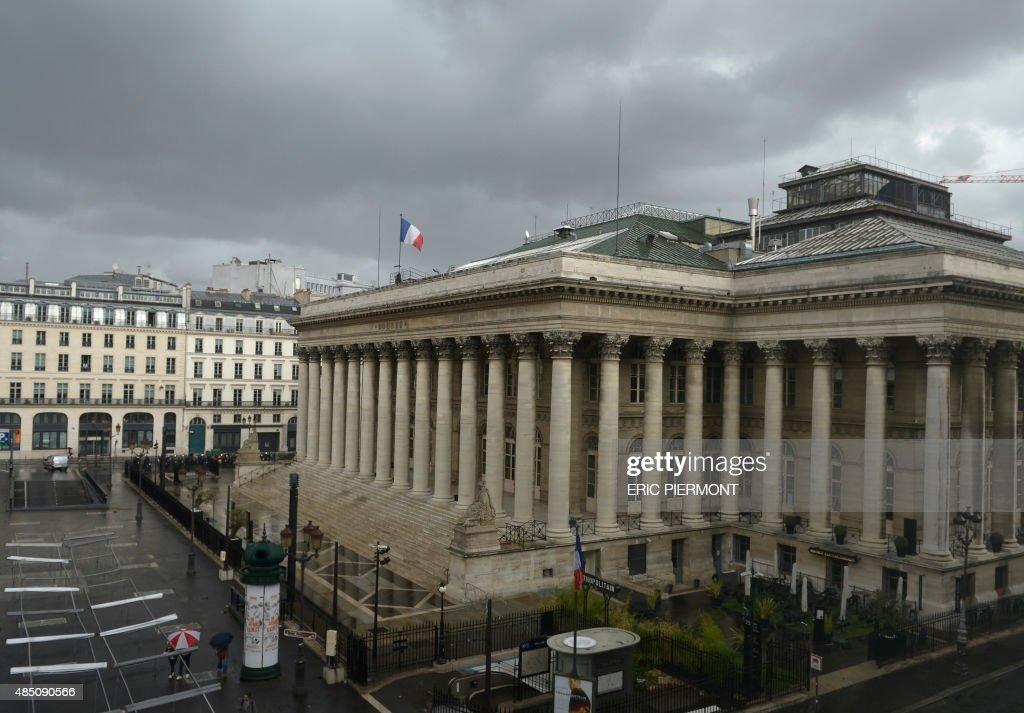 Photo taken on August 24 2015 shows the former Paris stock market exchange Bourse de Paris or Palais Brongniart in Paris Major European and Asian...