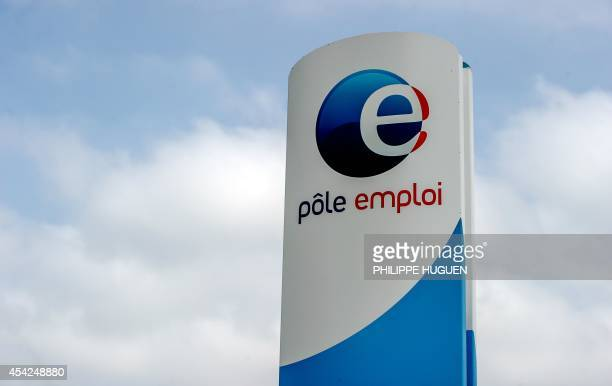 A photo taken on August 27 2014 shows the logo of a French Pole Emploi employment agency in Armentieres AFP PHOTO PHILIPPE HUGUEN