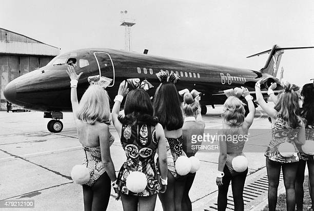 Photo taken on August 30 1970 shows playmates or bunnies of Playboy Magazine arriving at London airport with the Playboy jet 'Big Bunny' AFP PHOTO
