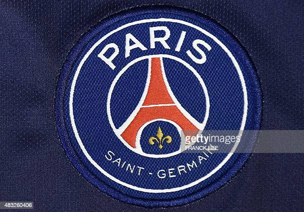 A photo taken on August 6 2015 in Paris shows a partial view of the new jersey of the Paris Saint Germain football team AFP PHOTO / FRANCK FIFE / AFP...