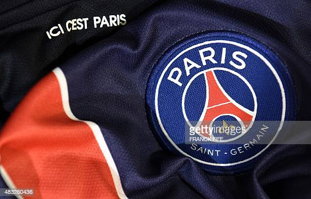 A photo taken on August 6 2015 in Paris shows a partial view of the new jersey of the Paris Saint Germain football team AFP PHOTO / FRANCK FIFE