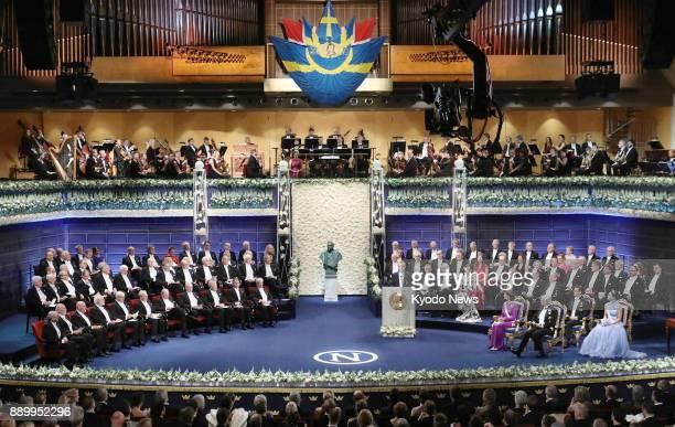 Photo taken on Dec 10 2017 shows the 2017 Nobel Prize award ceremony held at Stockholm Concert Hall ==Kyodo