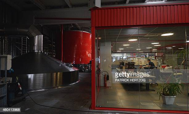 A photo taken on December 12 2014 shows the brewing hall at the main factory of the Kronenbourg brewer at in the eastern French city of Obernai AFP...