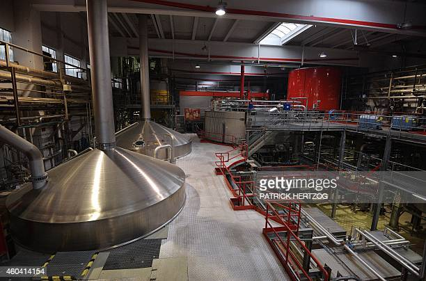 A photo taken on December 12 2014 shows the brewing hall of the Kronenbourg brewer at in the eastern French city of Obernai AFP PHOTO / PATRICK...