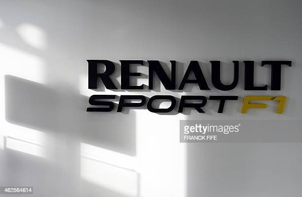 A photo taken on December 18 2014 in ViryChatillon south of Paris shows the logo of Renault Sport F1 The general director of Renault Sport F1 Cyril...