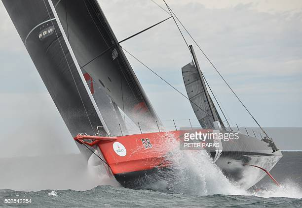 Photo taken on December 26 2015 shows Supermaxi yacht Comanche at the start of the Sydney to Hobart yacht race in Sydney Comanche was attempting...