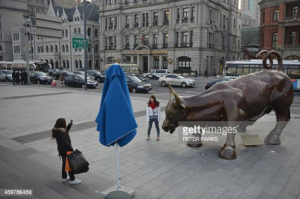 Photo taken on December 30 2013 shows visitors having photos taken with a replica of the famous Wall Street bronze bull on the Bund in China's...