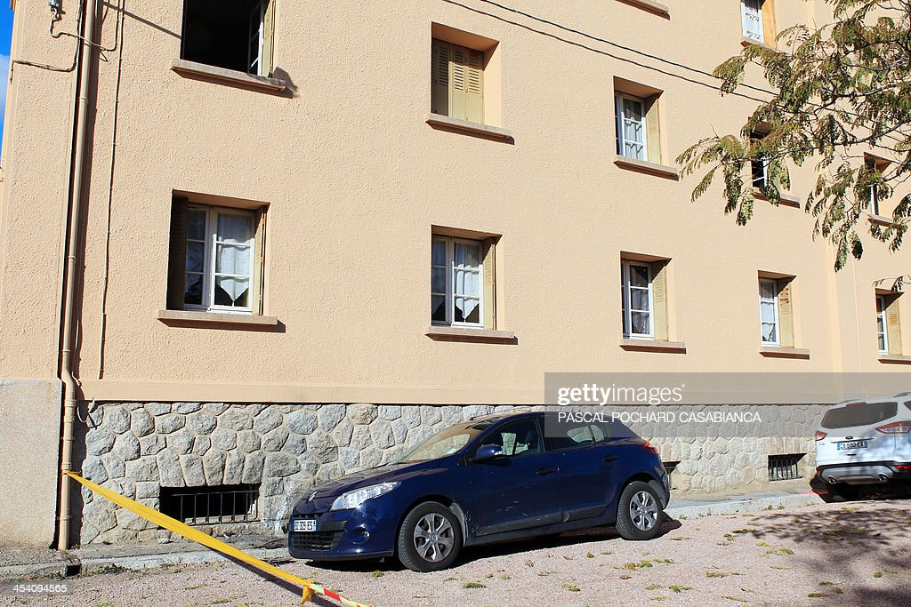 A photo taken on December 7, 2013 shows the Ajaccio's gendarmerie after was hit by rockets two days before, in the French Mediterranean island of Corsica.