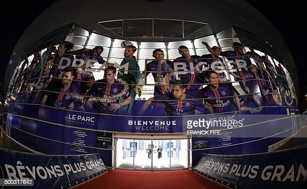 TOPSHOT A photo taken on December 7 2015 shows a general view of the main entrance of the Parc des Princes Stadium in Paris on the eve of the UEFA...