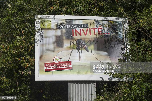 A photo taken on February 1 2016 shows a billboard reading 'You have a guest' and featuring a picture of a mosquito as part of a campaign to fight...