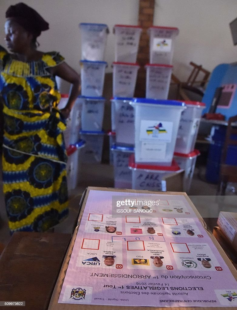 A photo taken on Febuary 13, 2016 in Bangui, shows ballot boxes and other voting material for the Central African Republic second round presidential and legslatives elections. The Central African Republic holds delayed presidential and parliamentary polls on February 14, with voters desperate to usher in peace after the country's worst sectarian violence since independence in 1960. / AFP / ISSOUF SANOGO