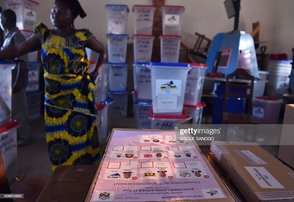 A photo taken on Febuary 13, 2016 in Bangui, shows ballot boxes and other voting material that will be used in the Central African Republic second round presidential and legslatives elections. The Central African Republic holds delayed presidential and parliamentary polls on February 14, with voters desperate to usher in peace after the country's worst sectarian violence since independence in 1960. / AFP / ISSOUF SANOGO
