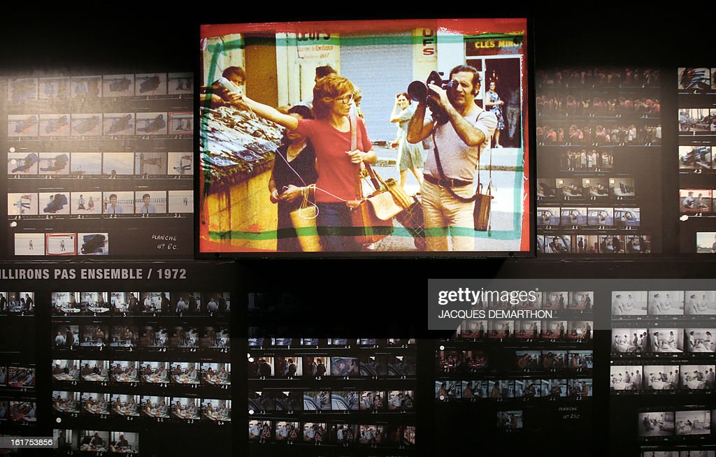 A photo taken on February 15, 2013 in Paris shows stills from the movie 'Nous ne vieillirons pas ensemble' (1972) on display at the French Cinematheque (La Cinematheque Francaise) during an exhibition dedicated to late French film director Maurice Pialat. The event will be held from February 20 to July 7, 2013. On the photograph, French actors Marlene Jobert and Jean Yann.