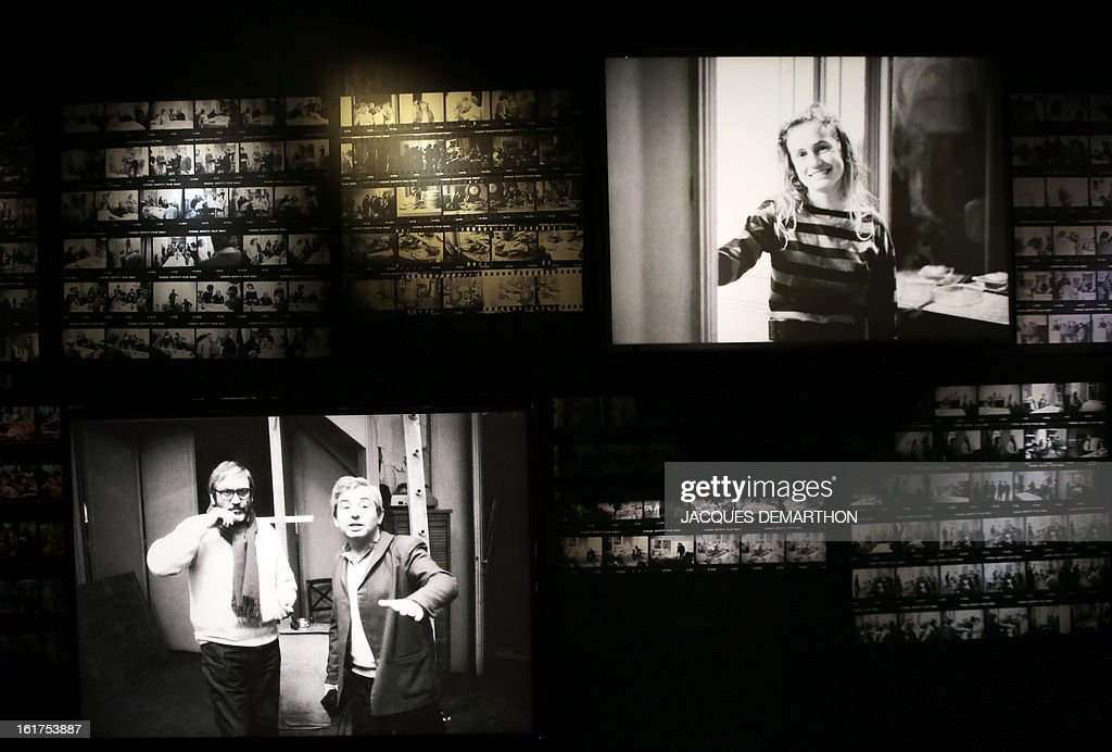 A photo taken on February 15, 2013 in Paris shows stills on display at the French Cinematheque (La Cinematheque Francaise) during an exhibition dedicated to late French film director Maurice Pialat. The event will be held from February 20 to July 7, 2013. On the photographs (L) Maurice Pialat with an unidentified person and (R) French actress Sandrine Bonnaire.