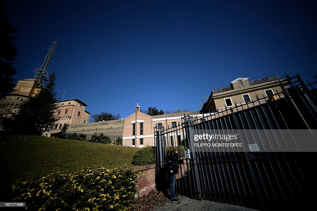 A photo taken on February 19, 2013 shows the convent of Mater Ecclesiae (Mother of the Church) at the Vatican City State. The building will host Pope Benedict XVI, offering him a substantial four-story modern home complete with contemporary chapel, garden and a roof terrace looking out from a rise dominated by the Holy See's TV transmission tower. Pope Benedict XVI began a week-long spiritual retreat out of the public eye on Monday ahead of his resignation on February 28 with the field of candidates to succeed him still wide open. AFP PHOTO/ Filippo MONTEFORTE