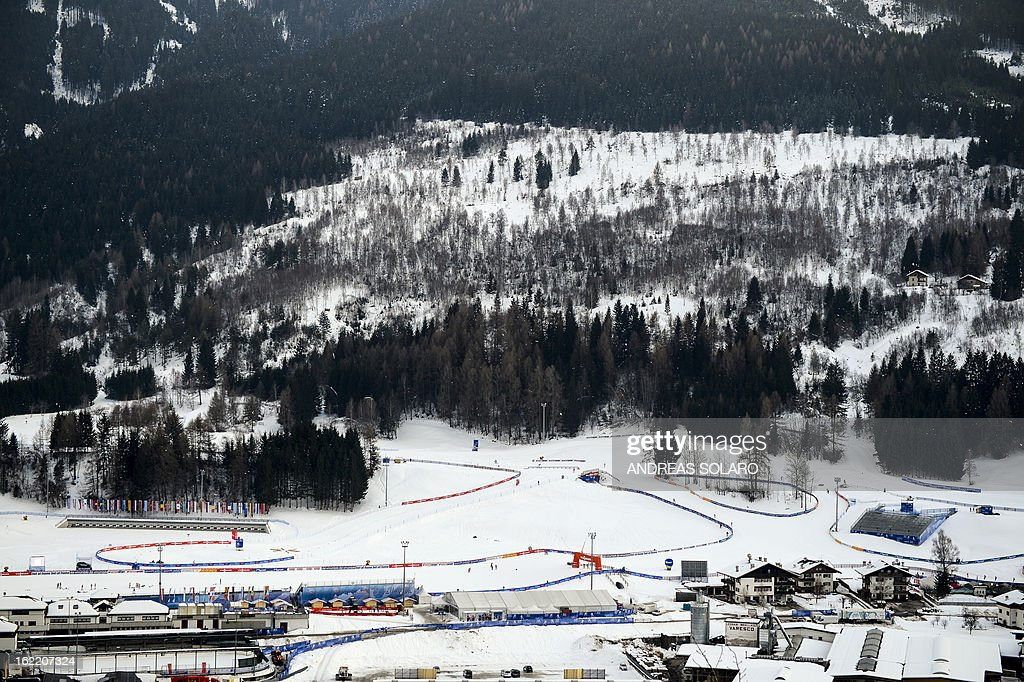 A photo taken on February 20, 2013 shows a landscape view of the Cross Country stadium of Val Di Fiemme in Cavalese, northern Italy, during the Men's Cross Country 10km qualification race of the FIS Nordic World Ski Championships.