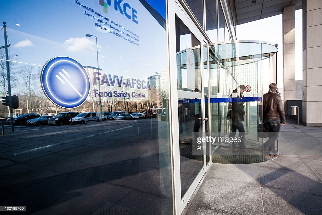 A photo taken on February 20, 2013 shows the entrance to the Federal Agency for the safety of the food chain (FASFC) headquarters in Brussels. AFP PHOTO / BELGA / SISKA GREMMELPREZ -- BELGIUM OUT --
