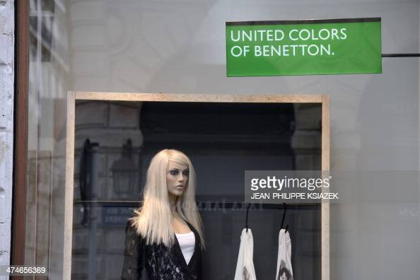 Photo taken on February 21 2014 shows a United Colors of Benetton clothing store in Lyon centraleastern France AFP PHOTO / JEANPHILIPPE KSIAZEK