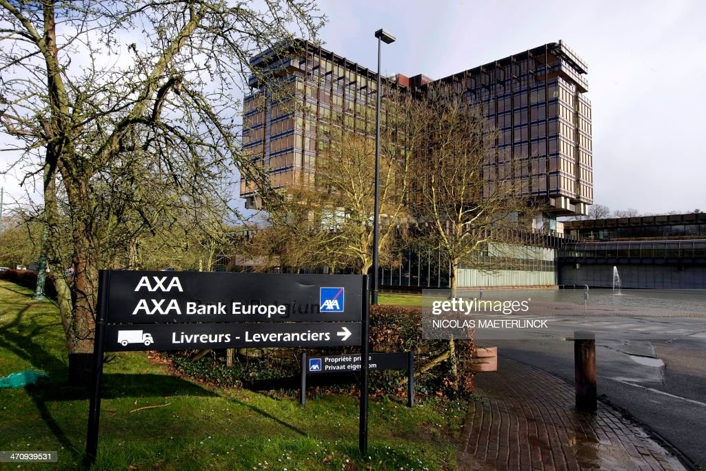 A photo taken on February 21, 2014 shows the Axa Bank Europe headquarters in Brussels. Axa bank has announced it will cut 148 jobs in the next three years.