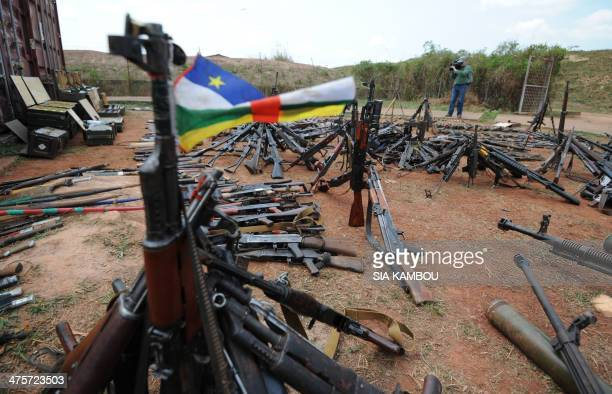 A photo taken on February 28 2014 at a French military base in Bangui shows arms confiscated by French army from exSeleka rebels and Antibalaka...