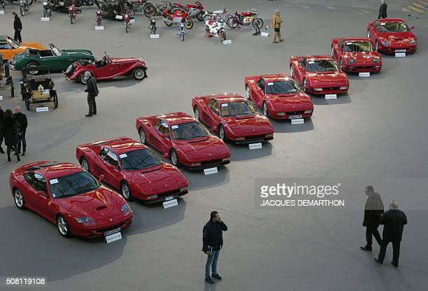 A photo taken on February 3 2016 shows eight Ferrari cars on display for a sale of vintage cars and motorcycles at the Grand Palais in Paris / AFP /...